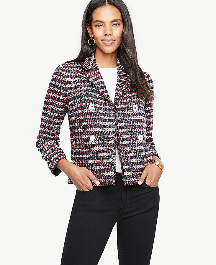 Petite Double Breasted Tweed Jacket | Tuggl