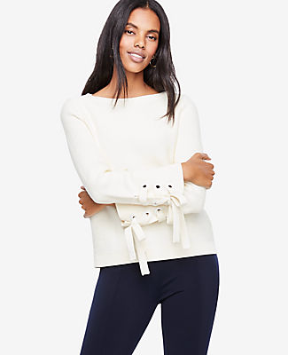 Ann Taylor Petite Grommet Tie Sleeve Sweater 24313322