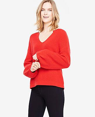 Ann Taylor Split Neck Balloon Sleeve Sweater 24306737