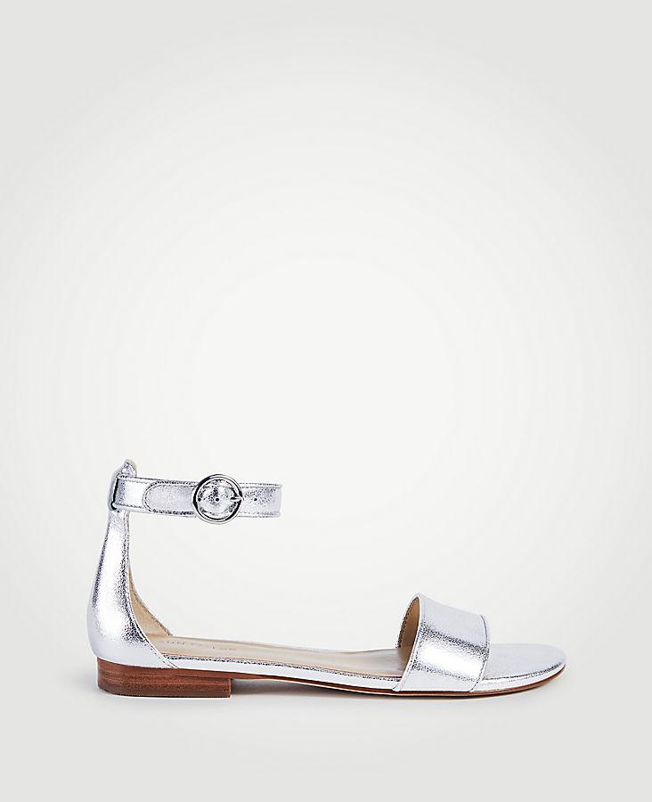 Aislyn Metallic Leather Flat Sandals | Tuggl
