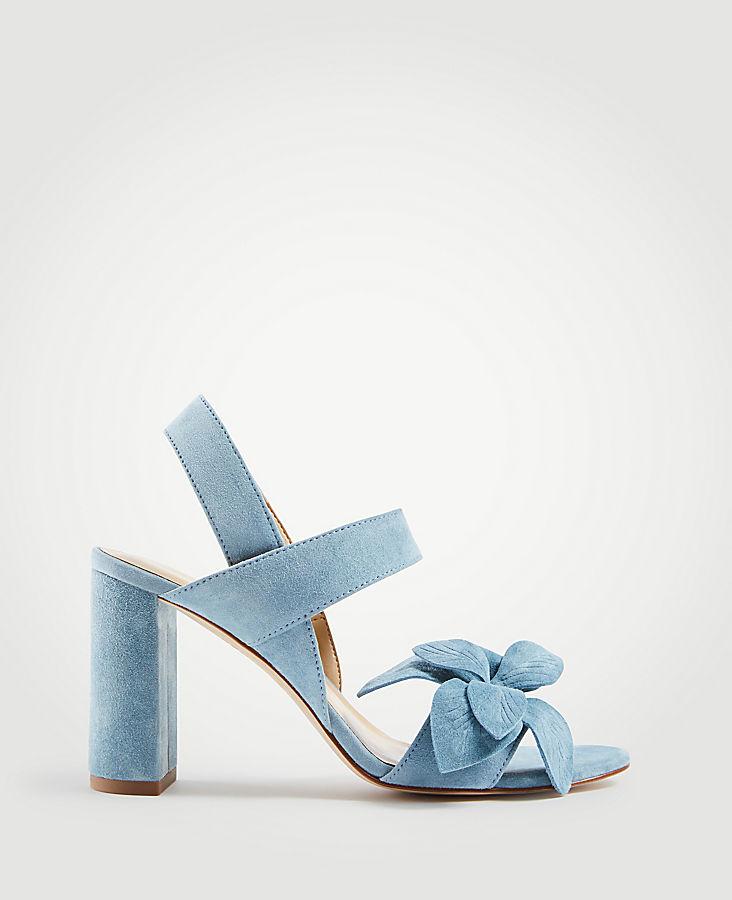 Joy Suede Flower Heeled Sandals | Tuggl