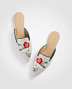 ANN TAYLOR Elya Linen Embroidered Slides