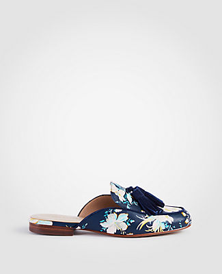 Image of Ann Taylor Factory Alesia Floral Leather Loafer Slides