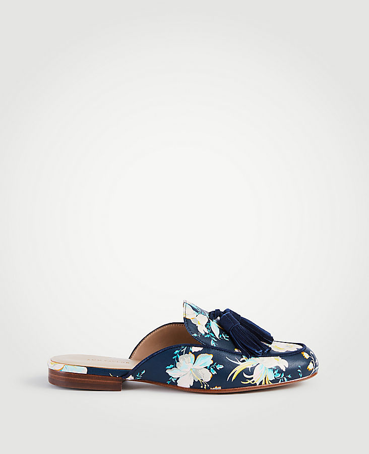 Alesia Floral Leather Loafer Slides | Tuggl