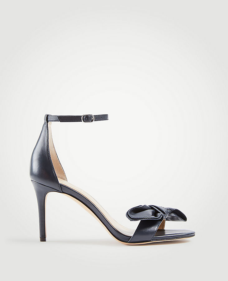 Kinsley Leather Bow Heeled Sandals | Tuggl