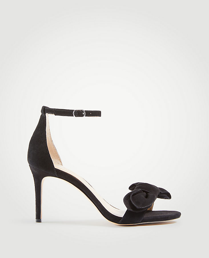 Kinsley Suede Bow Heeled Sandals | Tuggl