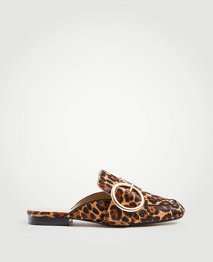 ANN TAYLOR Thalia Leopard Print Haircalf Buckle Slides KKbthA