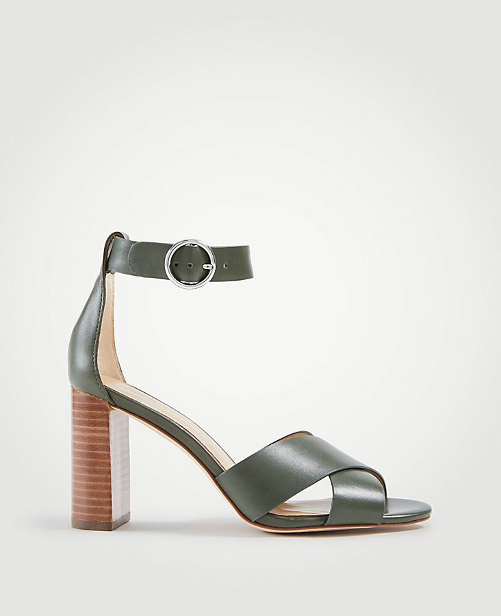 Liya Leather Block Heel Sandals at Ann Taylor in Victor, NY | Tuggl
