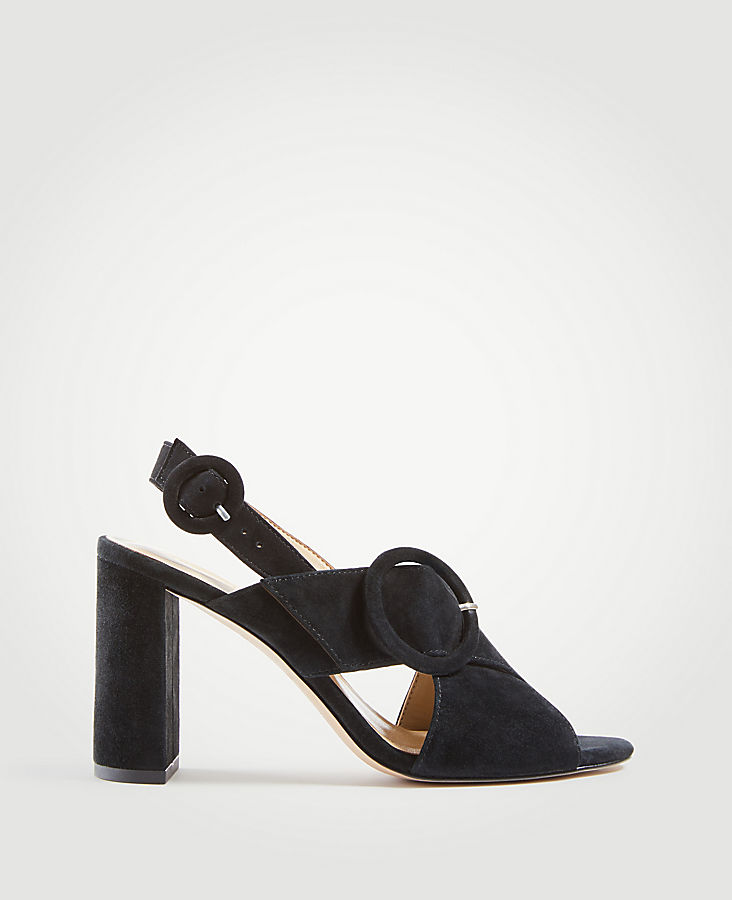 Magda Suede Buckle Block Heel Sandals | Tuggl