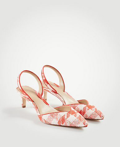 Elora Piped Gingham Slingback Pumps
