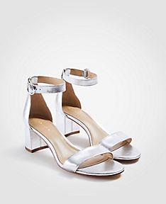 ANN TAYLOR Nicole Metallic Leather Block Heel Sandals Q4HKa9