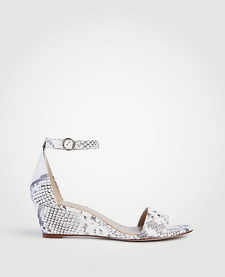 Giuliana Exotic Embossed Leather Wedge Sandals | Tuggl