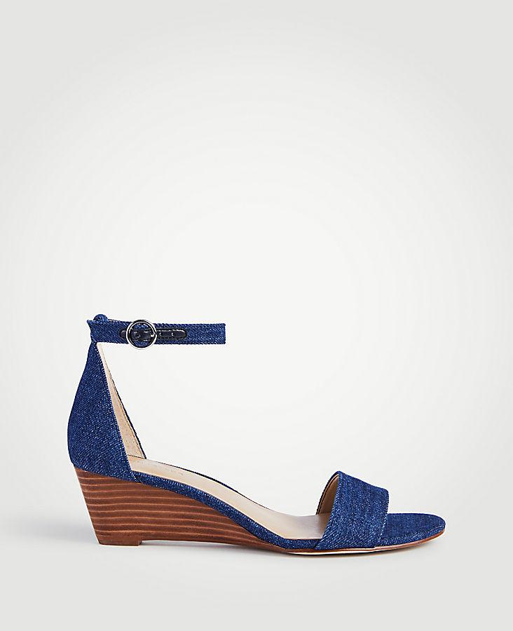 ANN TAYLOR Giuliana Denim Wedge Sandals vacDw1nrf6