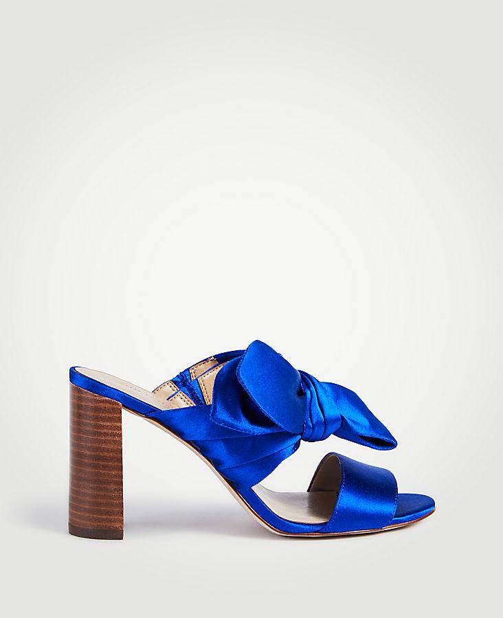 Oriana Satin Bow Block Heel Sandals | Tuggl