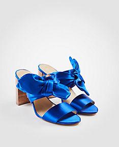 ANN TAYLOR Oriana Satin Bow Block Heel Sandals qSSScXk