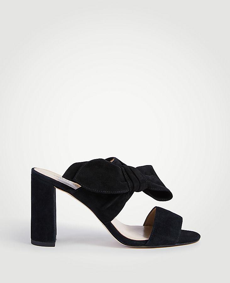 Oriana Suede Bow Block Heel Sandals | Tuggl
