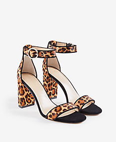 ANN TAYLOR Leannette Leopard Print Haircalf Block Heel Sandals BnwWhPx