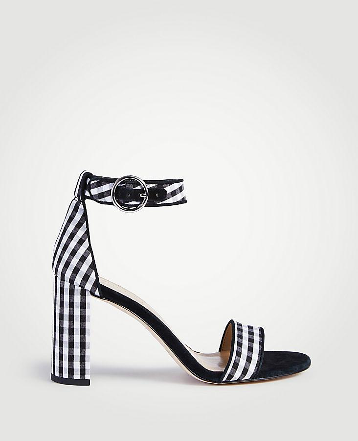 Leannette Piped Gingham Block Heel Sandals | Tuggl