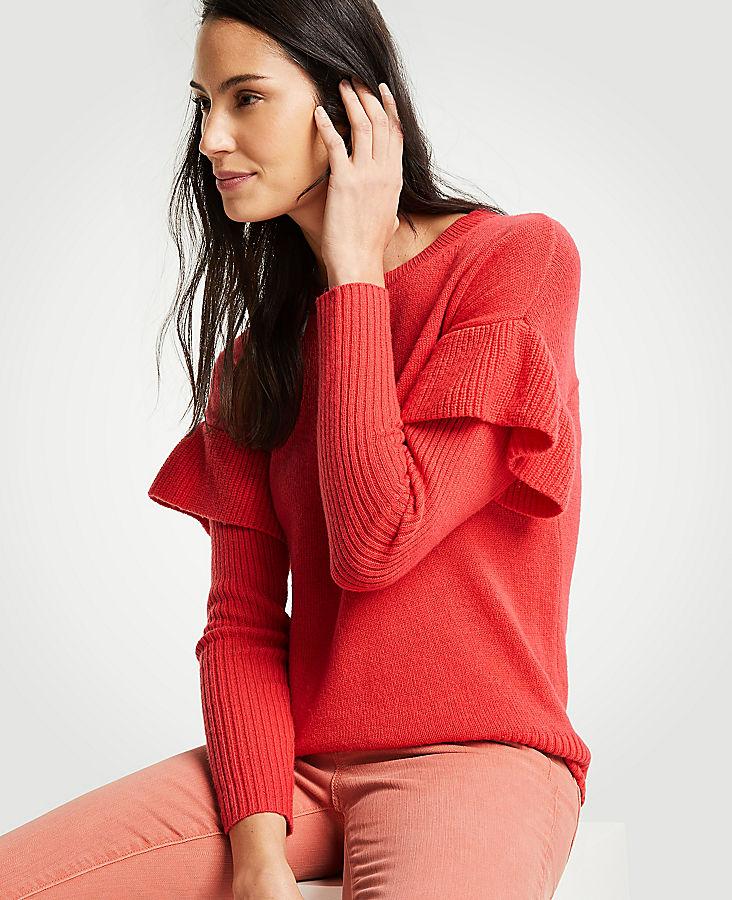 Flounce Sleeve Sweater | Tuggl