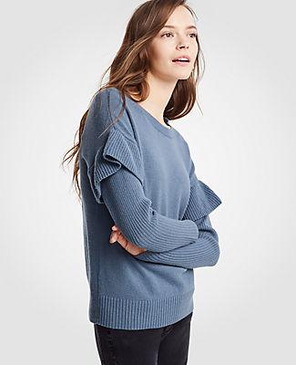 Ann Taylor Flounce Sleeve Sweater 24580762