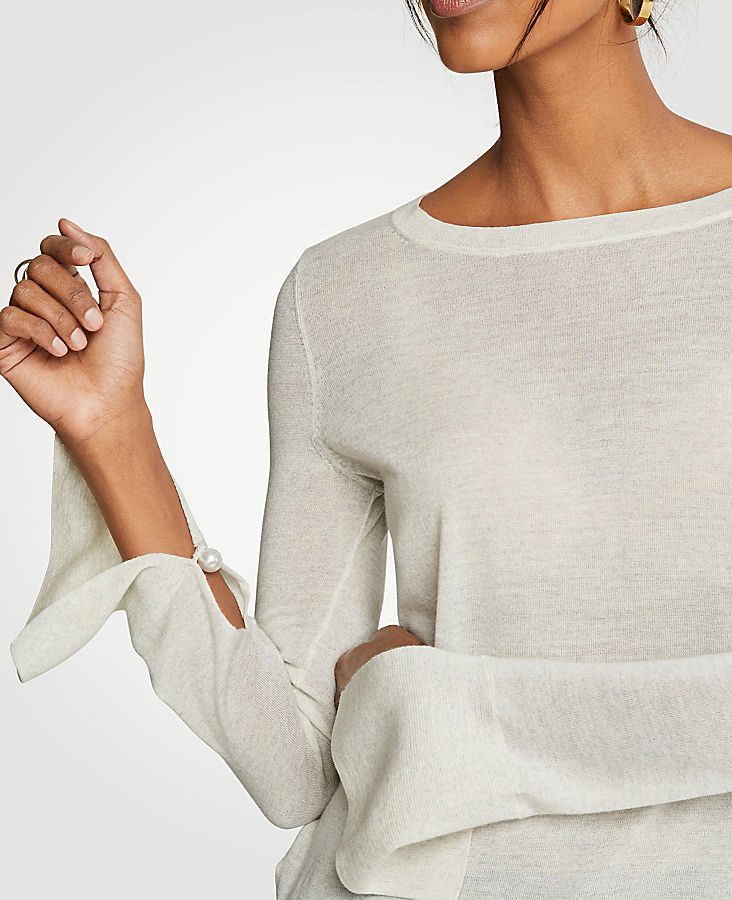Split Sleeve Pearlized Trim Sweater at Ann Taylor in Victor, NY | Tuggl