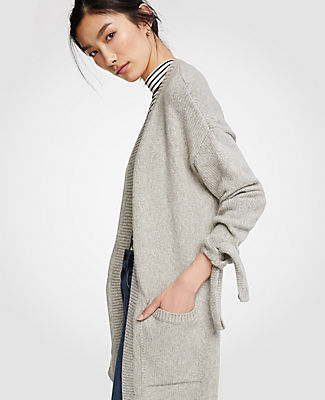 Ann Taylor Ribbed Tie Sleeve Open Cardigan