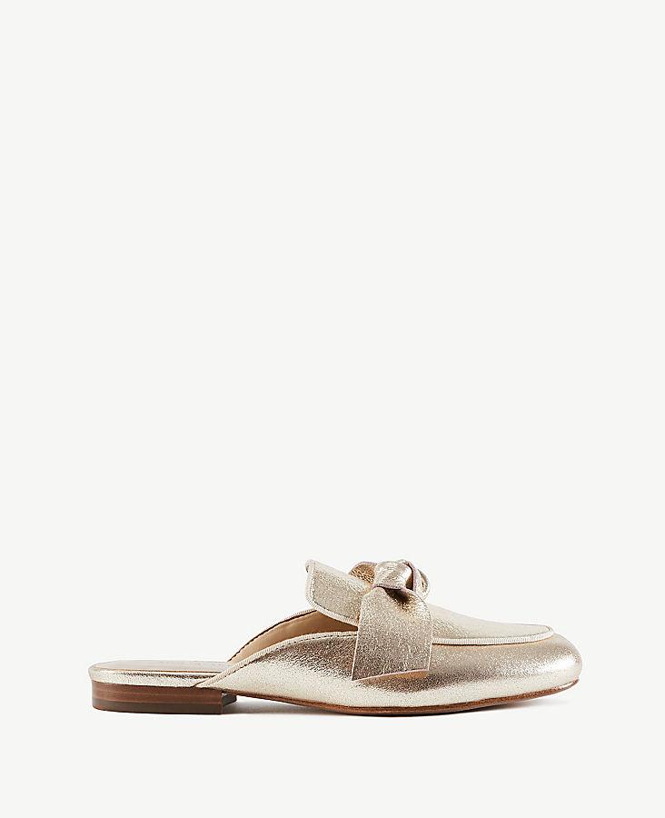 Marisela Metallic Bow Loafer Slides | Tuggl