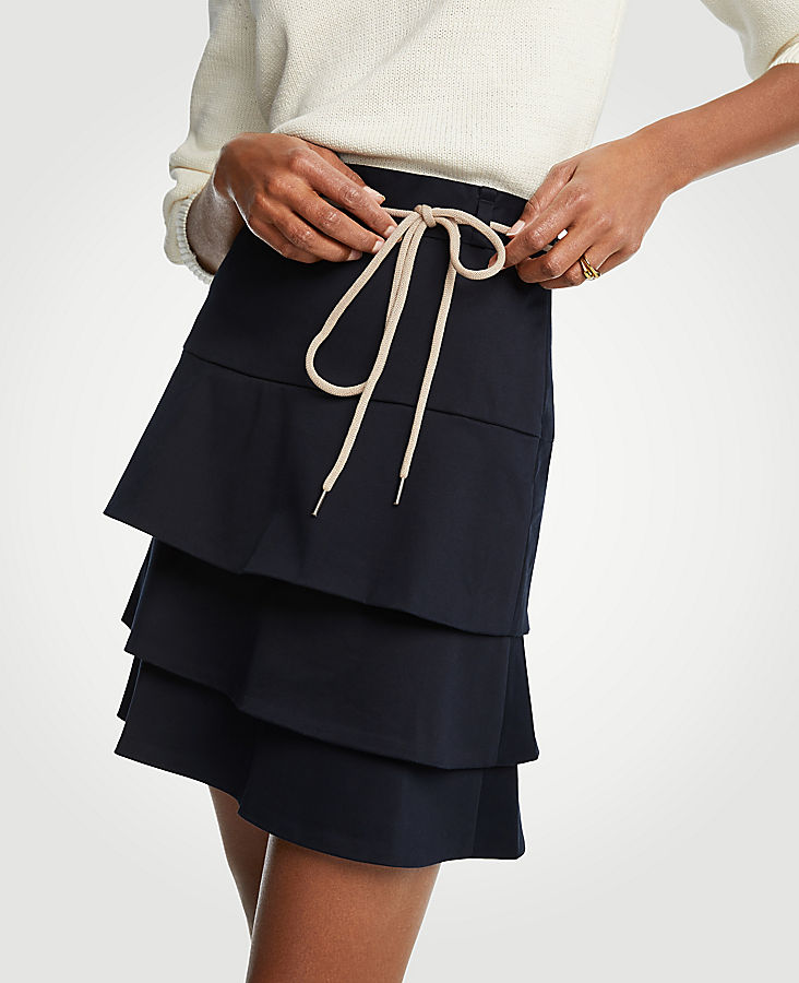 Tiered Tie A-Line Skirt   Tuggl