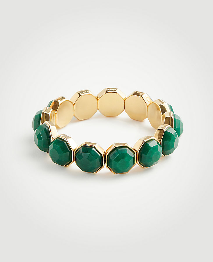 Hexagon Stone Stretch Bracelet | Tuggl