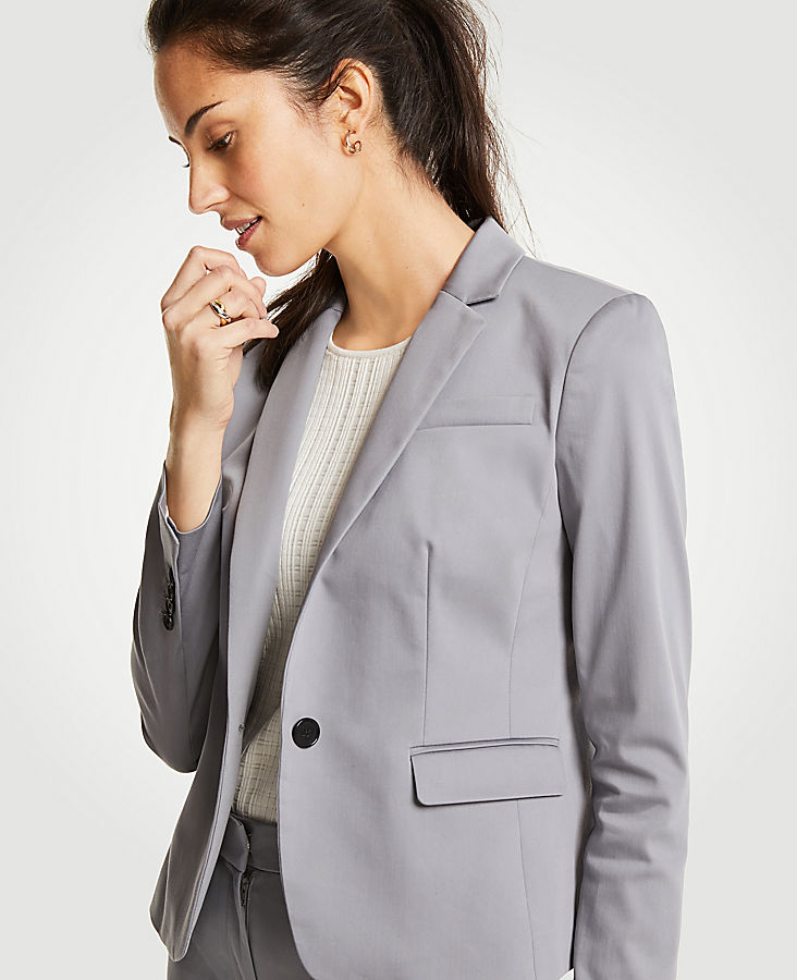 Cotton Sateen One Button Perfect Blazer | Tuggl