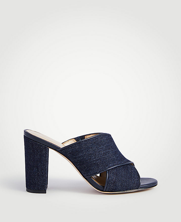 Jeanette Denim Heeled Mule Sandals | Tuggl