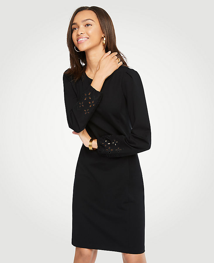Eyelet Keyhole Ponte Shift Dress | Tuggl
