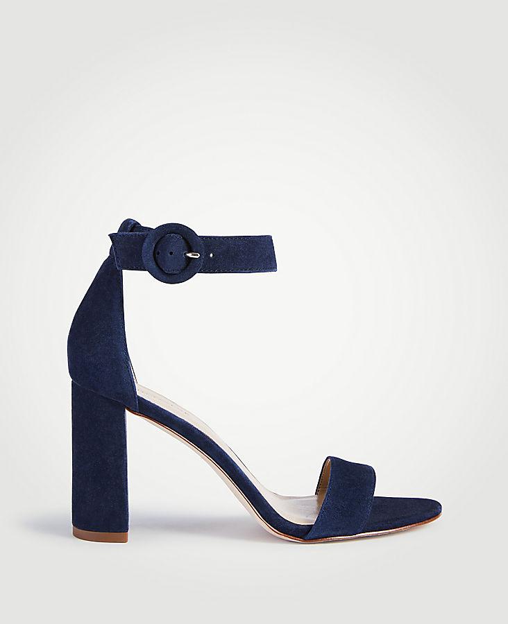 Leannette Suede Leather Block Heel Sandals | Tuggl