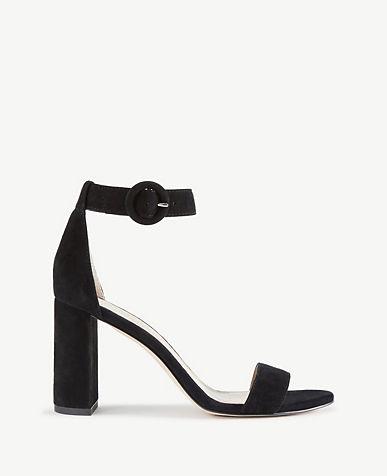 Leannette Suede Leather Block Heel Sandals