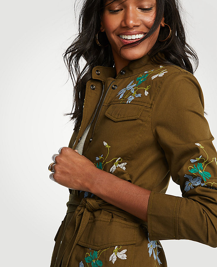 Embroidered Floral Safari Jacket | Tuggl