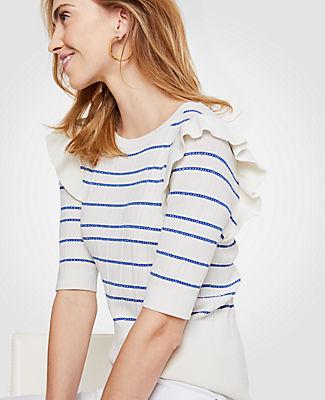 Ann Taylor Stripe Ruffle Shoulder Sweater 24837552