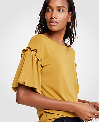 Ann Taylor Petite Ruffle Bubble Sleeve Top