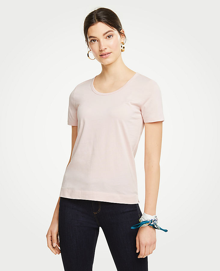 Petite Pima Cotton Scoop Neck Tee | Tuggl