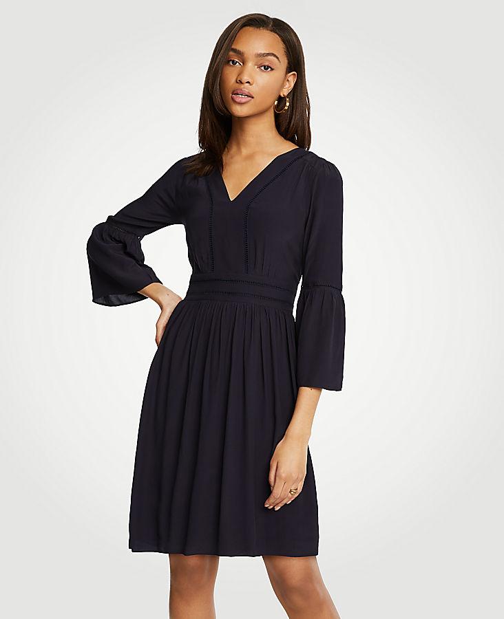 Petite Cutout Flare Sleeve Dress