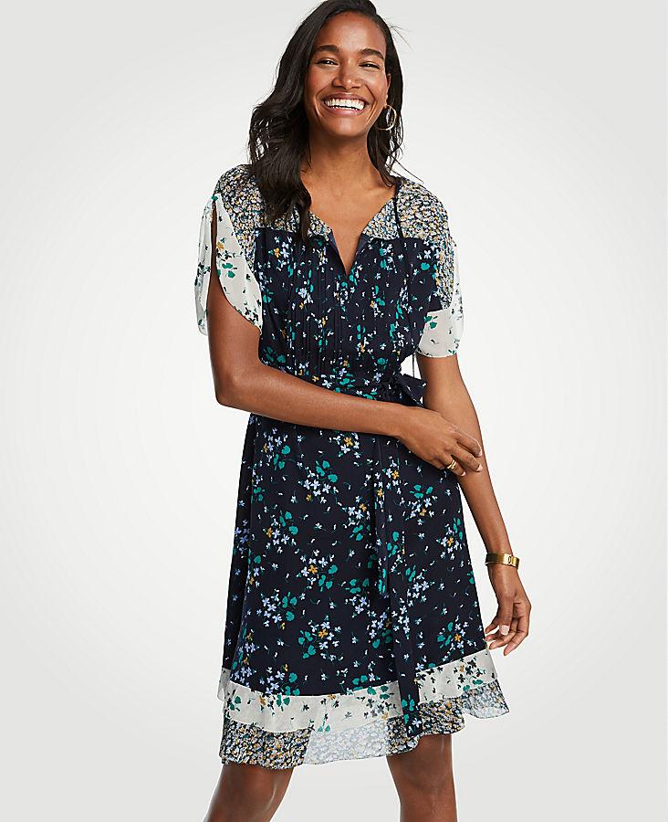 Petite Mixed Floral Flounce Dress