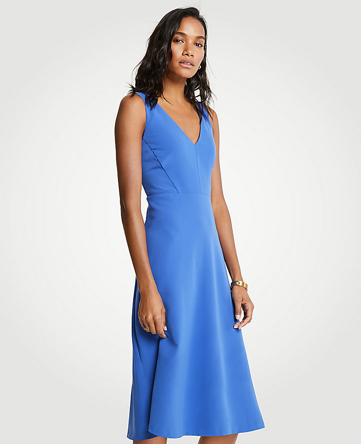 Petite V-Neck Midi Flare Dress