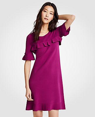 Ann Taylor Petite Chevron Ruffle Sweater Dress