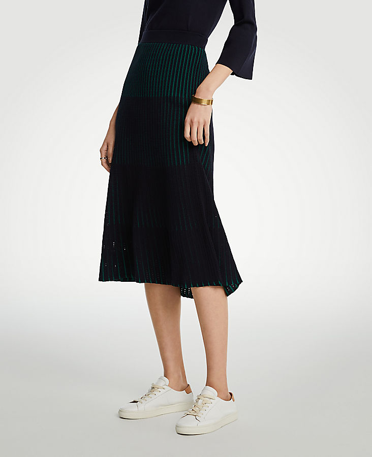 Petite Ribbed Full Sweater Skirt