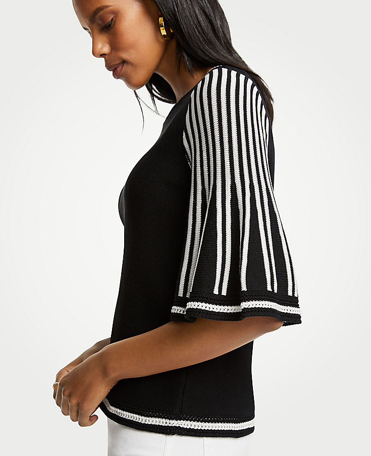 Striped Flare Sleeve Sweater | Tuggl