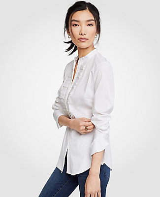 Ann Taylor Petite Pleated Ruffle Perfect Shirt