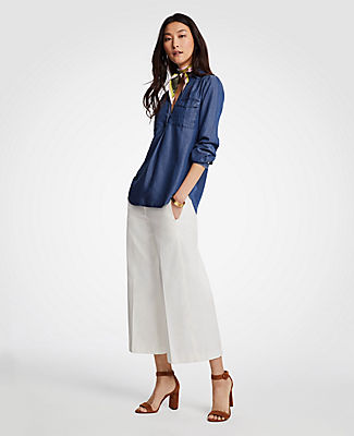 Ann Taylor Petite Chambray Camp Shirt