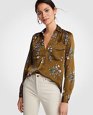 Ann Taylor Petite Floral Camp Shirt