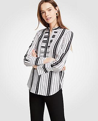 Ann Taylor Petite Stripe Pleated Ruffle Perfect Shirt