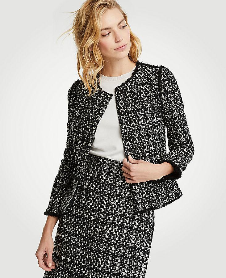 Petite Tweed Fringe Military Jacket
