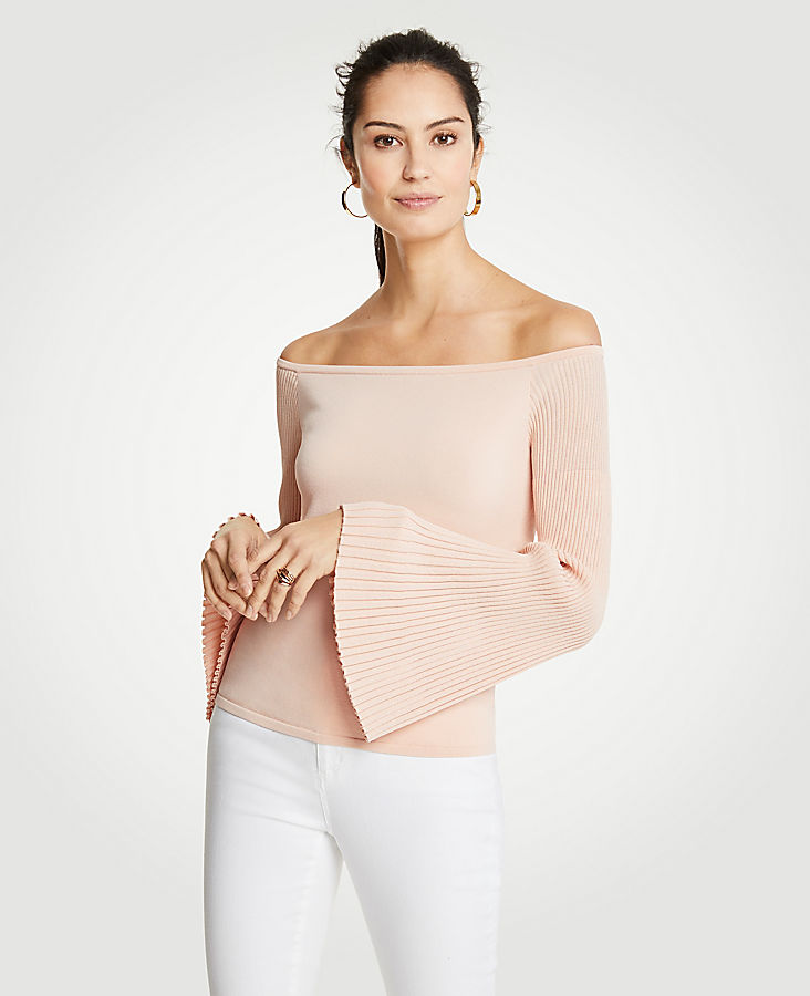 Pleat Flare Sleeve Off The Shoulder Sweater | Tuggl